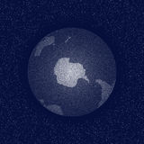 Vector stippled world stylized globe. South Pole. Stock Image