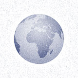 Vector stippled world stylized globe. View of Africa. Light edition Royalty Free Stock Photos