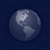 Vector stippled world stylized globe. View of America. Stock Image