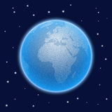 Vector stippled world stylized globe. Views of Africa Stock Photography