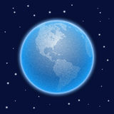 Vector stippled world stylized globe. Views of America Royalty Free Stock Photo