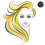 Vector Stock blonde Woman. Beauty Girl Portrait with blonde hair and blue eyes Royalty Free Stock Image