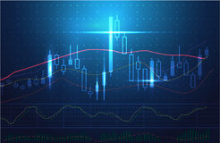 Vector stock charts and market analysis in blue theme. Stock Photo