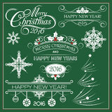 Vector stock Christmas And New Year Decoration. Decoration Set Of Calligraphic And Typographic Design Stock Photos