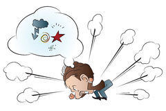 Vector stock illustration. Angry funny man. The bubble for text Stock Photo