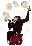 Vector stock illustration. Chinese zodiac. Monkey juggling figures in 2016 Stock Images