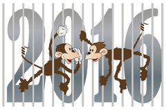 Vector stock illustration. Chinese zodiac. Monkey juggling figures in 2016.  stock illustration