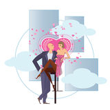 Vector stock illustration. A couple in love surrounded by hearts Royalty Free Stock Image