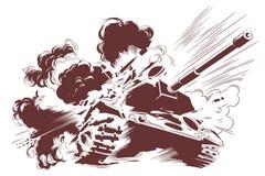 Explosion of tank. Stock illustration royalty free stock image