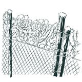 Fence with barbed wire. Stock Image