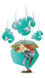 Vector stock illustration. Funny frightened man hiding under an umbrella from a falling currency Stock Photos
