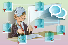 Vector stock illustration. Funny man at the computer. Communication network Stock Photography