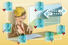 Vector stock illustration. Funny man at the computer. Communication network Stock Photo