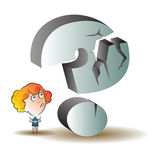 Vector stock illustration. Funny woman under a giant question mark Royalty Free Stock Image