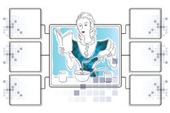 Vector stock illustration. Girl is preparing. Template for infographics with dies for ingredients Stock Photos