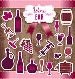 Vector stock illustration of icons wine Stock Images