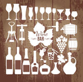 Vector stock illustration of icons wine. Wine icons design set. Vector stock illustration on wooden vector illustration