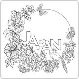 Vector stock illustration with Japanese peony and wild roses and Royalty Free Stock Image