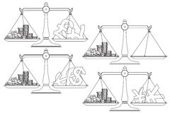 Vector stock illustration. Line graphic. The currency in the balance. Royalty Free Stock Image