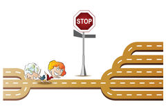 Vector stock illustration. People break the rules. Two girls happily running past the stop sign Stock Photo