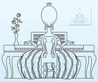 Vector stock illustration. Princess plays the piano. Royalty Free Stock Photography