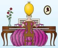 Vector stock illustration. Princess plays the piano. Stock Photos