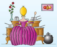 Vector stock illustration. Princess prepares food in the kitchen Royalty Free Stock Photos