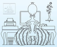Vector stock illustration. Princess working at the computer. Stock Photo