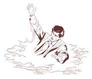 Sinking man. Stock illustration. Vector stock illustration. Sinking man vector illustration