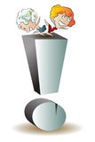 Vector stock illustration. Two funny girls dance on the exclamation point Stock Images