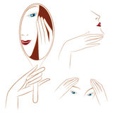Vector stock. Infographics. Beautiful girl caring for her face. Stock Photo