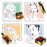 Vector stock. Infographics. Beautiful girl caring for her face. Royalty Free Stock Images