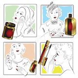 Vector stock. Infographics. Beautiful girl caring for her face. Stock Images