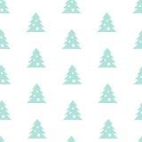 Vector Stock Seamless Blue Christmas Tree Pattern. Vector Seamless Christmas Tree Pattern on White Background Stock Photos