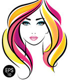 Vector Stock Woman Face. Beauty Girl Portrait with Colorful hair. For your design Stock Photo