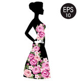 Vector Stock Woman Flowered Silhouette in black dress. Woman black profile Stock Images