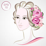 Vector Stock Woman Flowered Silhouette. Woman face Royalty Free Stock Photography