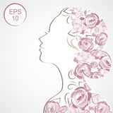Vector Stock Woman Flowered Silhouette. Woman profile Stock Images