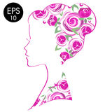 Vector Stock Woman Flowered Silhouette. Woman profile Royalty Free Stock Photography