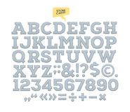 Vector stone carved alphabet. Letters. numbers made of stone Royalty Free Stock Images
