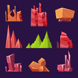 Vector Stones, Rocks and Canyons Set for Games Stock Image