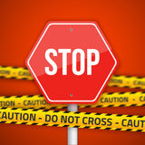 Vector Stop Road Sign with Yellow Caution Do Not Cross Police Li Royalty Free Stock Image