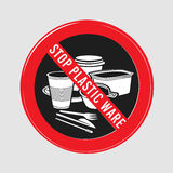 Vector stop sign, ban plastic dishes, fork, knife, plate, konteynet, a cup of coffee and stick. Interfere with sugar Royalty Free Stock Images