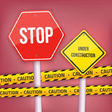 Vector Stop Sign Website Under Construction Template with Yellow Stock Photography