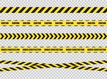 Vector Stop Tapes Set, Dangerous Zone Sign, Bright Yellow and Black Cross Lines on Transparent Background. vector illustration
