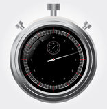 Vector stopwatch in high detail  Retro mechanic ch. Retro mechanic chromed. stopwatch vector illustration. Front view Stock Images