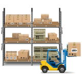 Vector Storage with Forklift Stock Photography