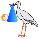 Vector stork with baby boy Royalty Free Stock Photo