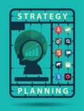 Vector Strategieplanungs-Ideenkonzept mit flachen Ikonen des Geschäfts Lizenzfreie Stockfotografie