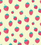 Vector pink and red strawberry seamless pattern stock illustration
